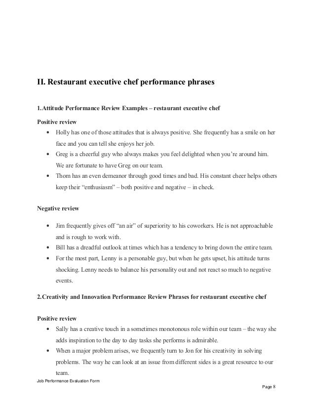 restaurant executive chef performance appraisal