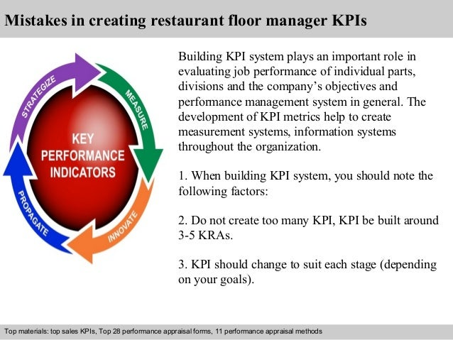 Mistakes in creating restaurant floor manager KPIs  Building KPI system plays an important role in  evaluating job perform...