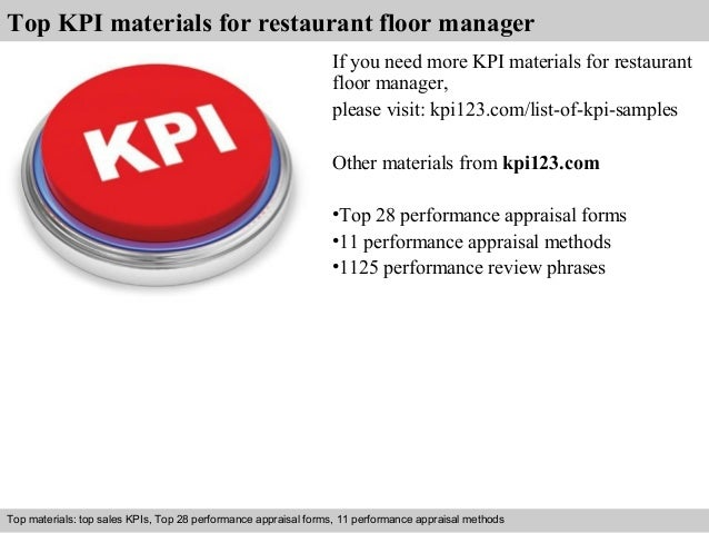 Top KPI materials for restaurant floor manager  If you need more KPI materials for restaurant  floor manager,  please visi...