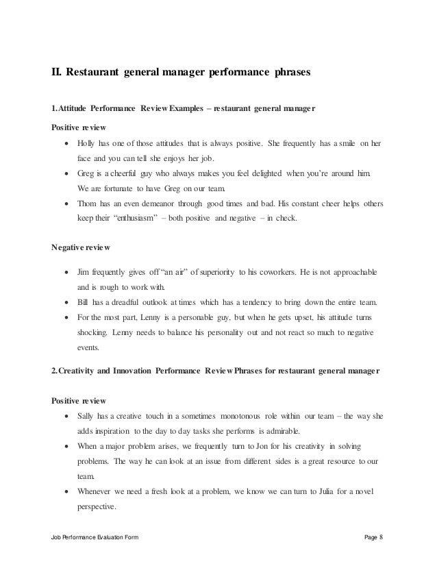 Restaurant general manager performance appraisal – Restaurant General Manager Job Description