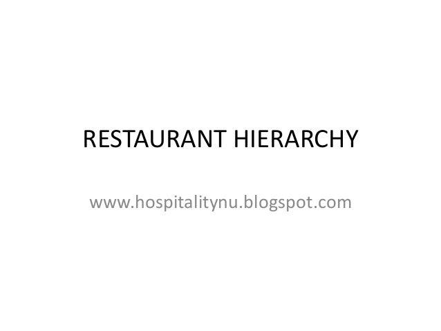 RESTAURANT HIERARCHY www.hospitalitynu.blogspot.com