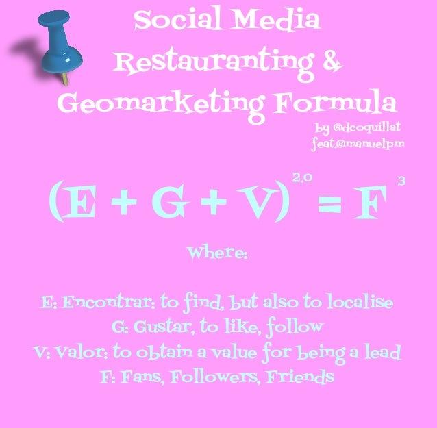 Social Media         Restauranting &  Geomarketing Formula                                     by @dcoquillat             ...