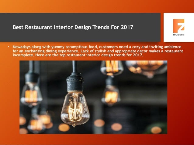 Best Restaurant Interior Design Trends For 2017 • Nowadays along with yummy scrumptious food, customers need a cozy and in...