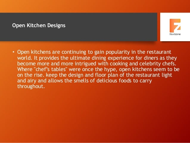 Open Kitchen Designs • Open kitchens are continuing to gain popularity in the restaurant world. It provides the ultimate d...