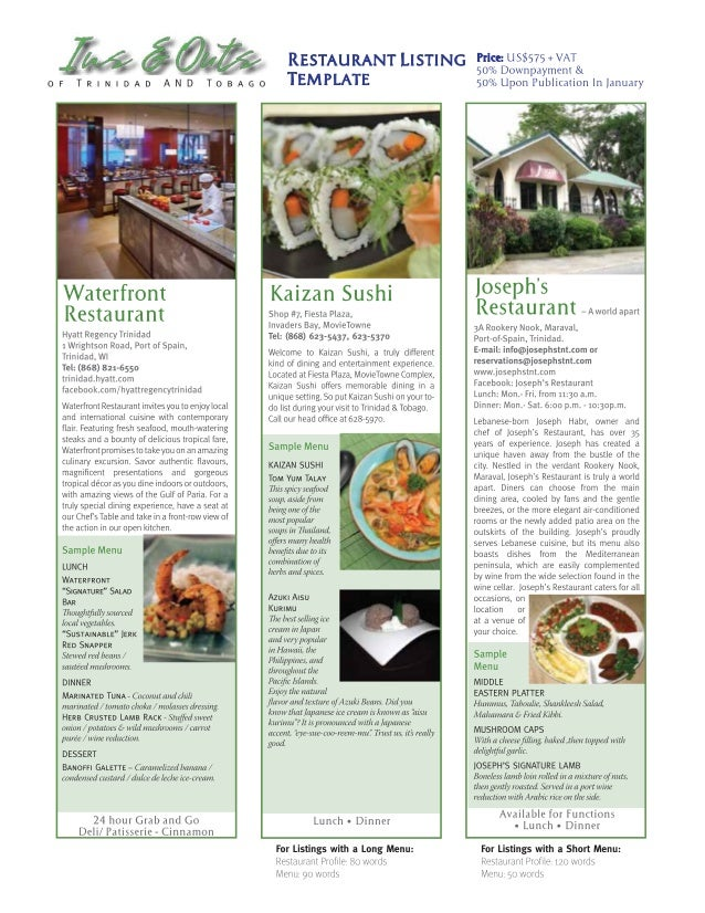Restaurant Listing Template For The Ins And Outs Of Trinidad And Toba