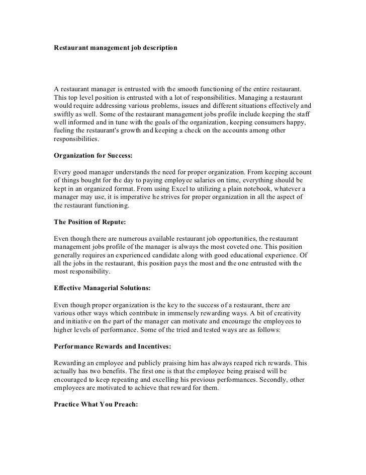 Restaurant management job description