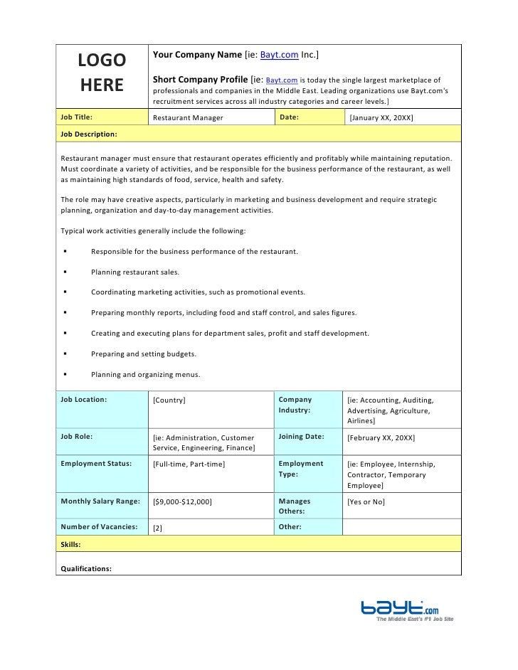 Restaurant Manager Job Description Template By BaytCom