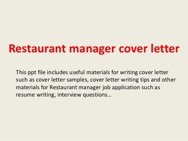 Perfect Restaurant Manager Cover Letter This Ppt File Includes Useful Materials For  Writing Cover Letter Such As ...