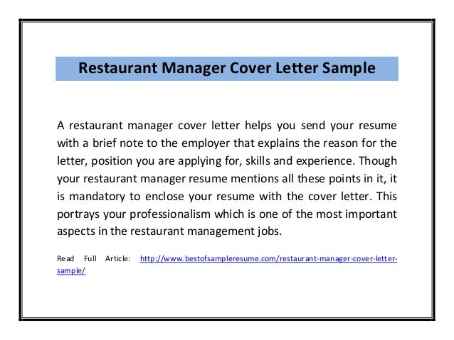 Restaurant Manager Cover Letter Sample Pdf