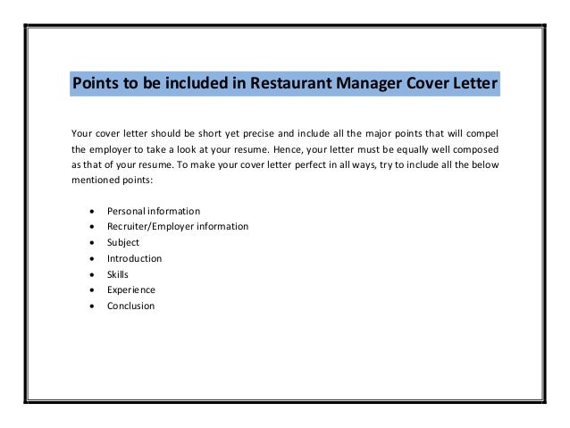 ... Sample/; 3. Points To Be Included In Restaurant Manager Cover Letter ...