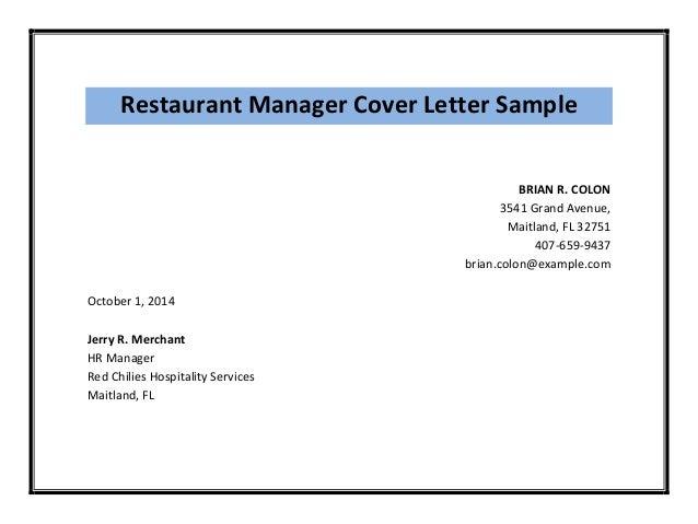 Restaurant Manager Cover Letter ...
