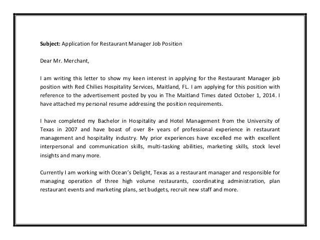 ... 6. Subject: Application For Restaurant Manager Job ...  Cover Letter For Restaurant Job