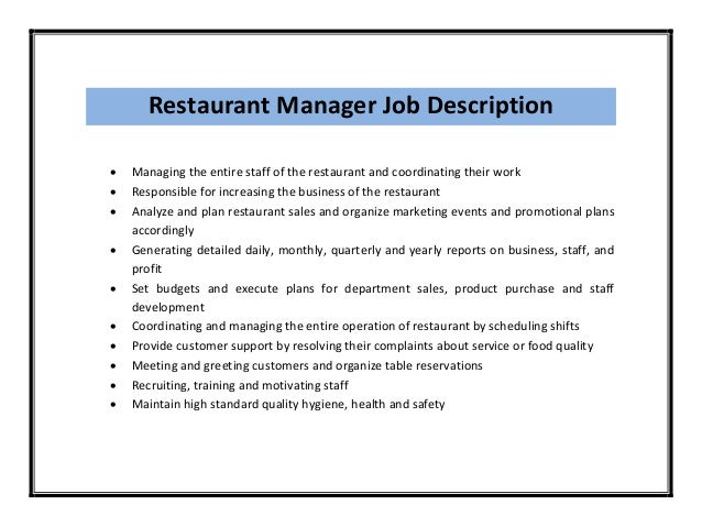 Restaurant Assistant Manager Resume Responsibilities