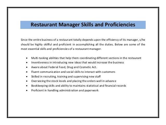restaurant manager duties