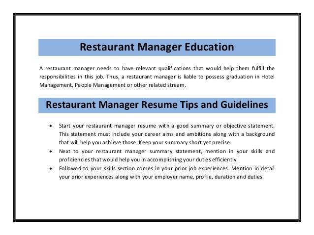 Restaurant manager resume sample pdf