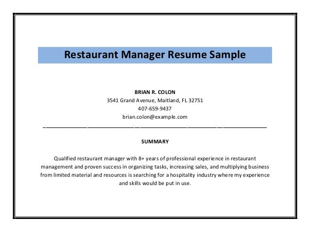 Restaurant Manager Resume ...  Restaurant Manager Resume
