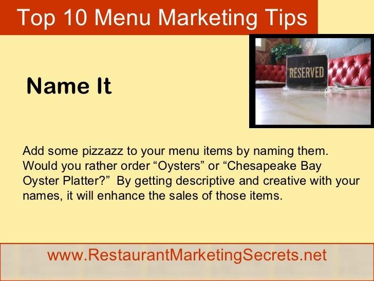 Restaurant Marketing Ideas For Menu Engineering