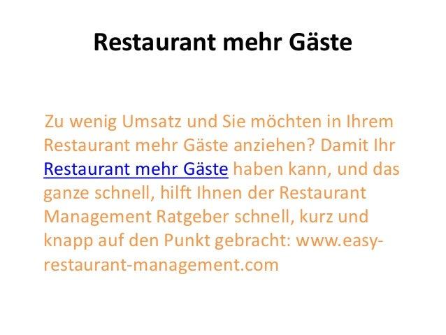 Restaurant mehr Gäste Zu wenig Umsatz und Sie möchten in Ihrem Restaurant mehr Gäste anziehen? Damit Ihr Restaurant mehr G...