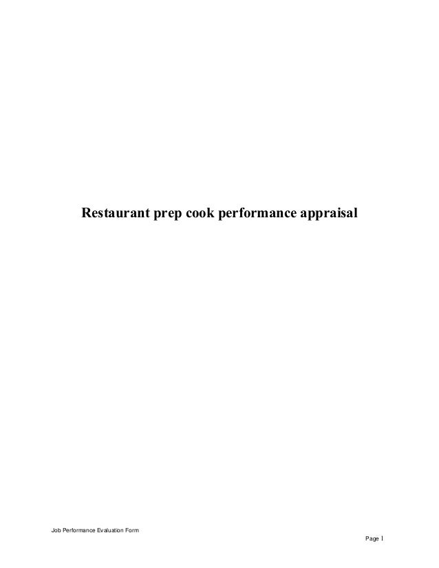 Restaurant Prep Cook Performance Appraisal Job Performance Evaluation Form  Page 1 ...  Prep Cook Job Description