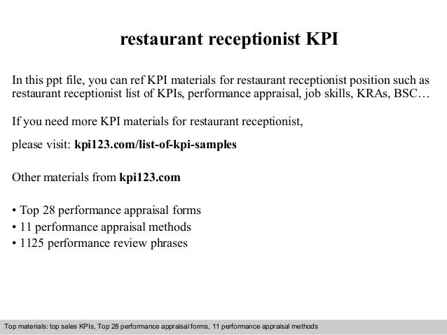 restaurant receptionist KPI  In this ppt file, you can ref KPI materials for restaurant receptionist position such as  res...