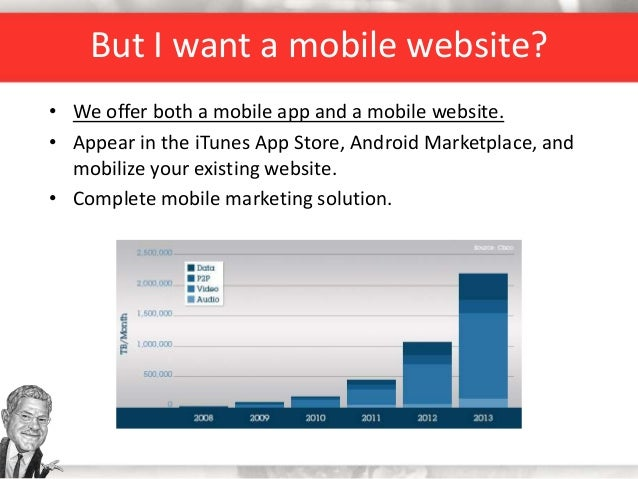 But I want a mobile website? • We offer both a mobile app and a mobile website. • Appear in the iTunes App Store, Android ...