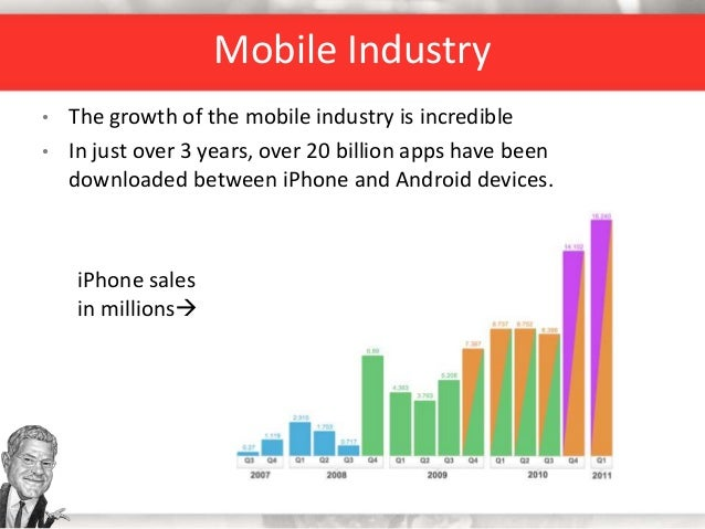 • The growth of the mobile industry is incredible • In just over 3 years, over 20 billion apps have been downloaded betwee...