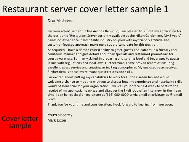 2 restaurant server cover letter sample