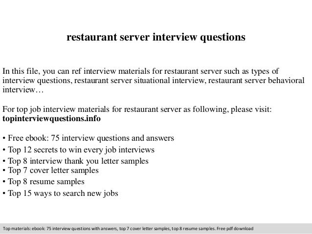 Restaurant server interview questions