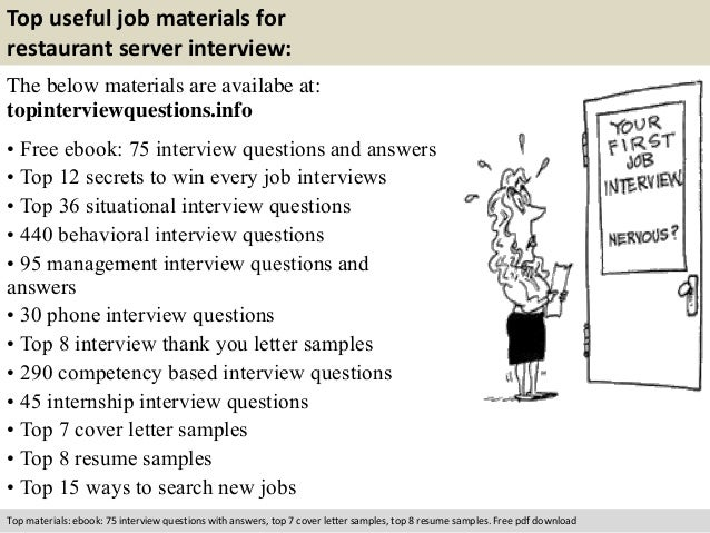 Nice Free Pdf Download; 10. Top Useful Job Materials For Restaurant Server  Interview: ... Inside Server Interview Questions