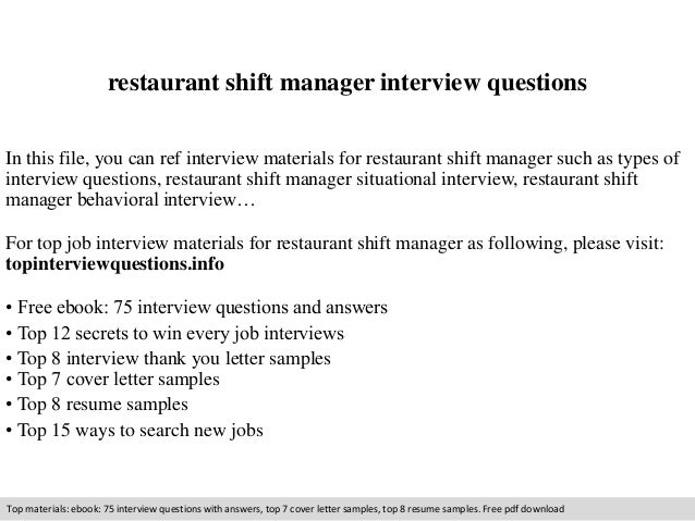 Restaurant Shift Manager Interview Questions In This File, You Can Ref  Interview Materials For Restaurant ...