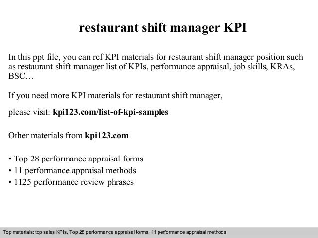 restaurant shift manager KPI  In this ppt file, you can ref KPI materials for restaurant shift manager position such  as r...