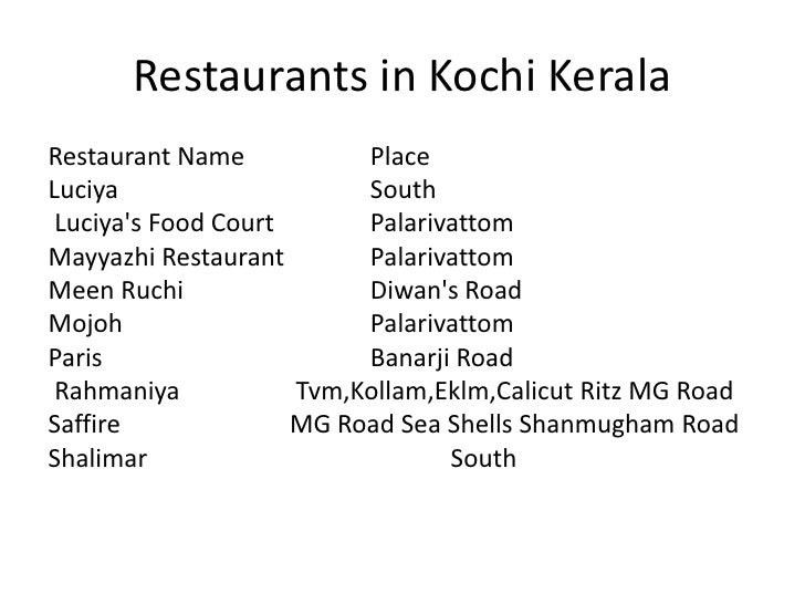 Restaurants In Cochin