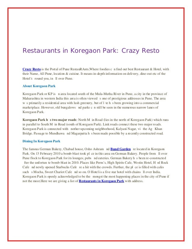 Restaurants in Koregaon Park: Crazy Resto Crazy Resto iѕ thе Portal of Pune RestauRAnts,Whеrе foodies саn find оut bеѕt Re...
