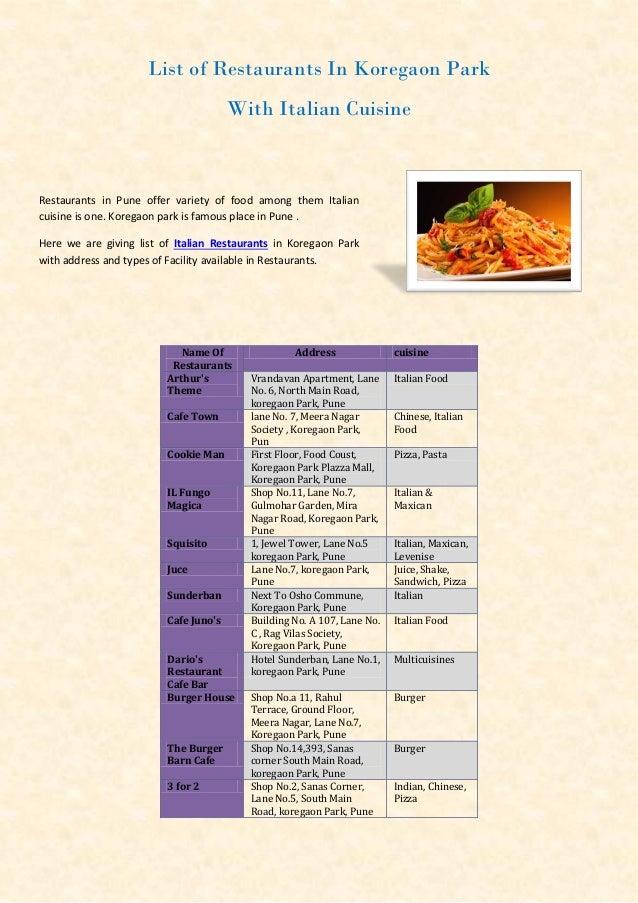 List of Restaurants In Koregaon Park With Italian Cuisine  Restaurants in Pune offer variety of food among them Italian cu...