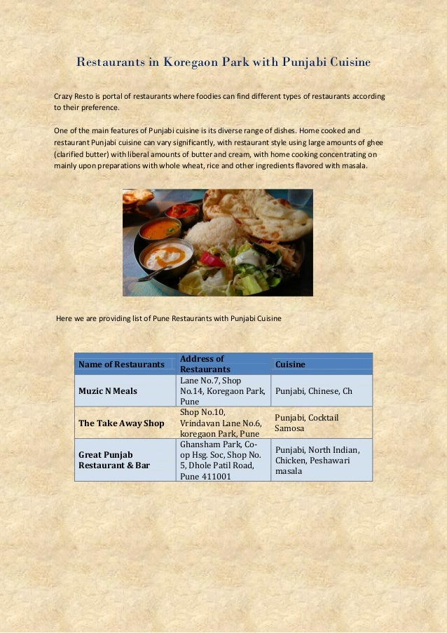 Restaurants in Koregaon Park with Punjabi Cuisine Crazy Resto is portal of restaurants where foodies can find different ty...