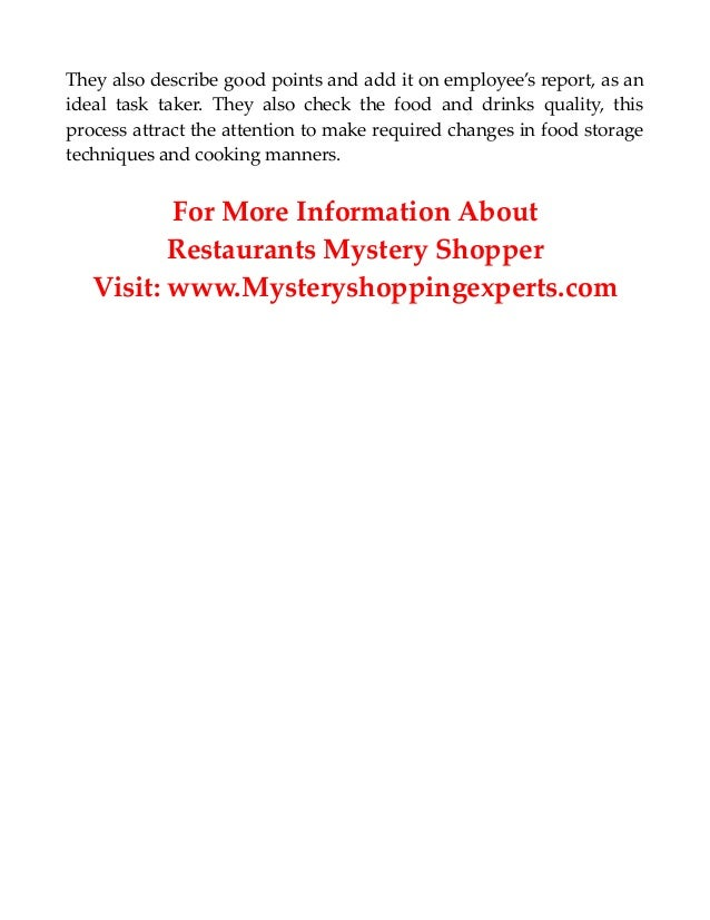 how to become a mystery shopper for restaurants