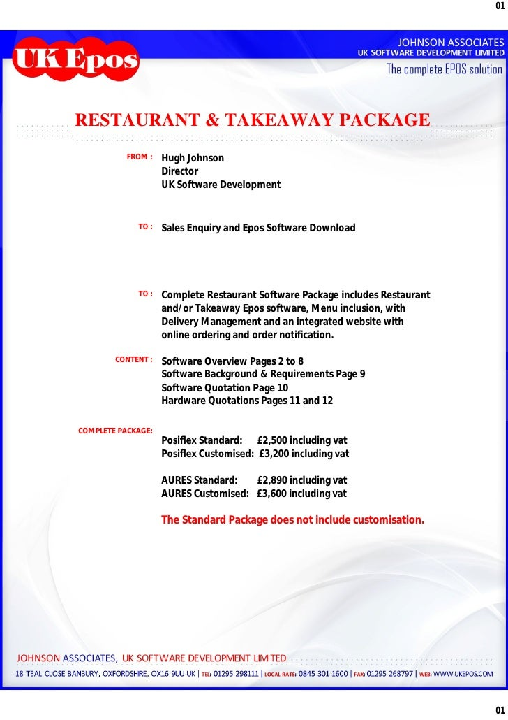01RESTAURANT & TAKEAWAY PACKAGE           FROM :   Hugh Johnson                    Director                    UK Software...