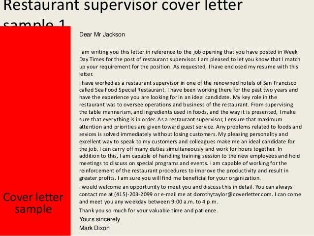 2. Restaurant Supervisor Cover Letter ...