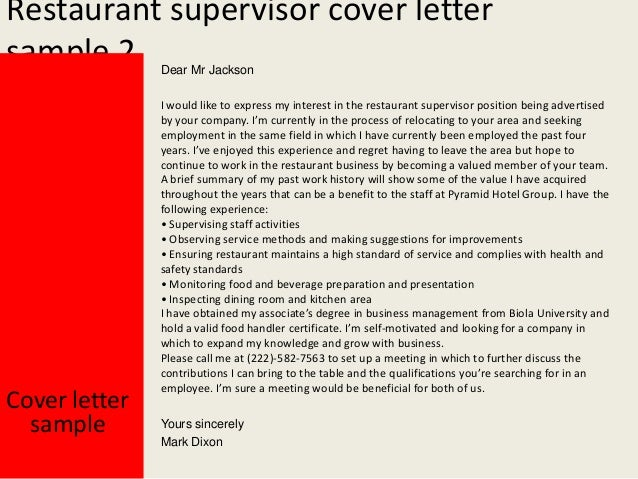 Perfect Yours Sincerely Mark Dixon; 3. Restaurant Supervisor Cover Letter ...