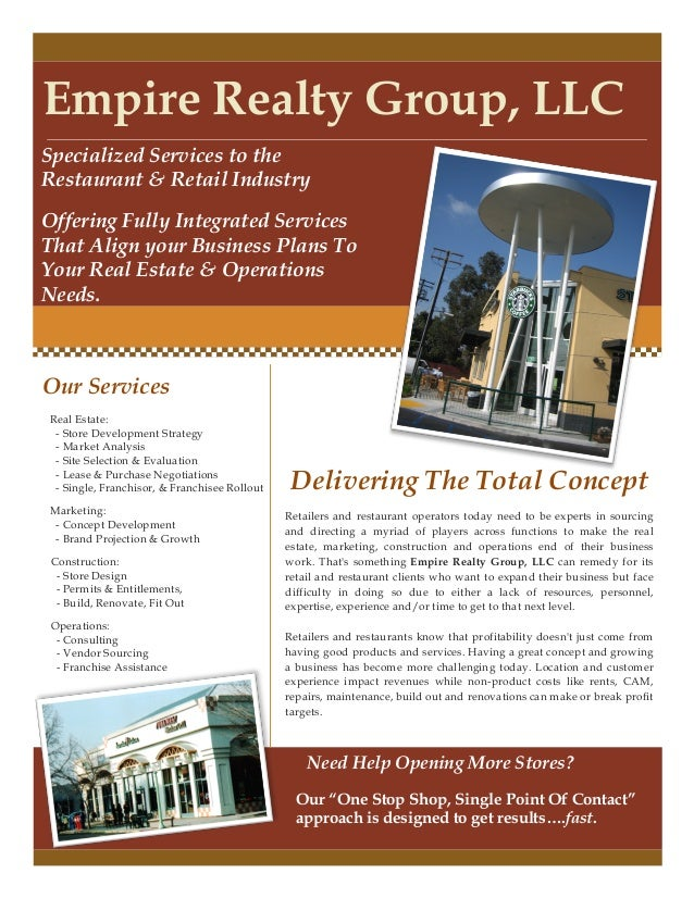 Empire Realty Group, LLCSpecialized Services to theRestaurant & Retail IndustryOffering Fully Integrated ServicesThat Alig...
