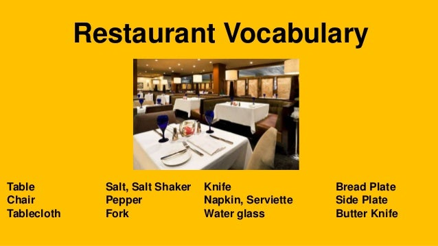 Restaurant vocabulary for Cuisine vocabulary