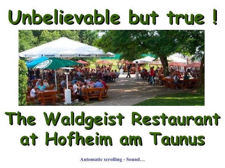 Unbelievable but true ! The Waldgeist Restaurant  at Hofheim am Taunus Automatic scrolling - Sound…