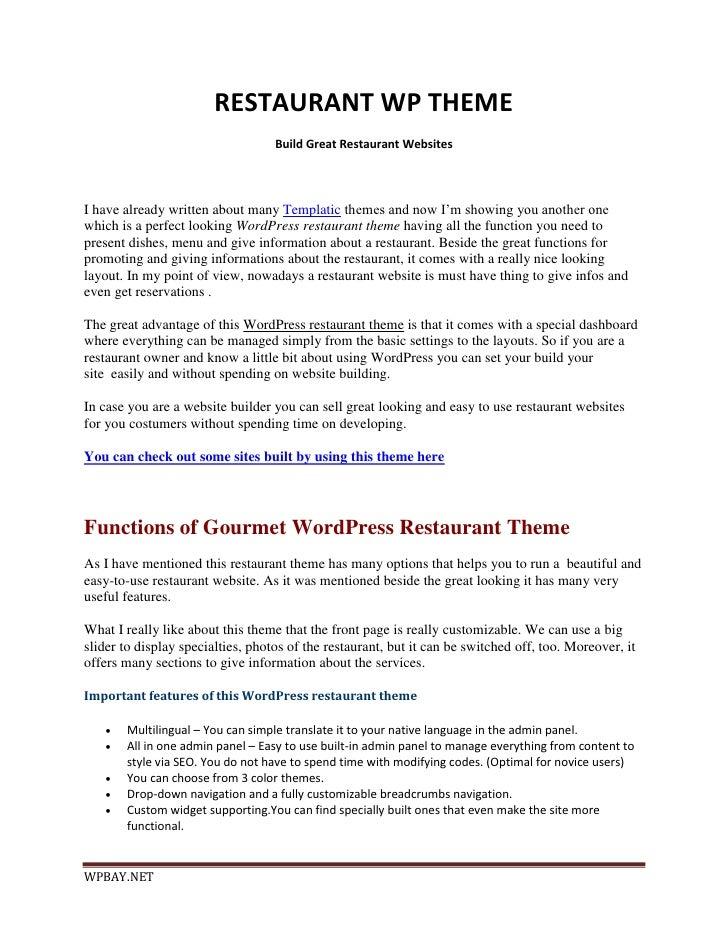 RESTAURANT WP THEME                                   Build Great Restaurant WebsitesI have already written about many Tem...