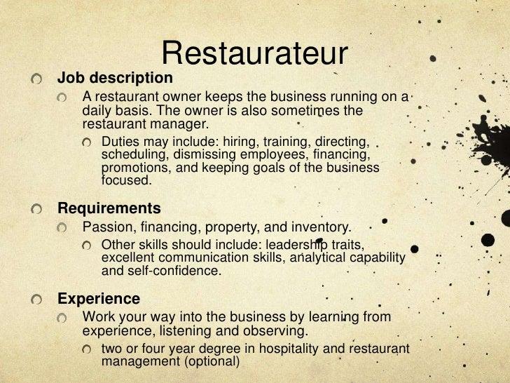 RestauratuerPrivate – Restaurant Manager Job Description