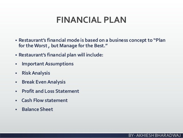 financial business plan for restaurant
