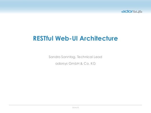 05/16/12 RESTful Web-UI Architecture Sandro Sonntag, Technical Lead adorsys GmbH & Co. KG