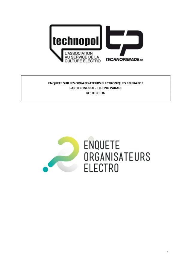 1               ENQUETE  SUR  LES  ORGANISATEURS  ELECTRONIQUES  EN  FRANCE   PAR  TECHNOPOL  ...