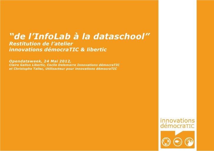 """""""de l'InfoLab à la dataschool""""Restitution de l'atelierinnovations démocraTIC & liberticOpendataweek, 24 Mai 2012,Claire Ga..."""