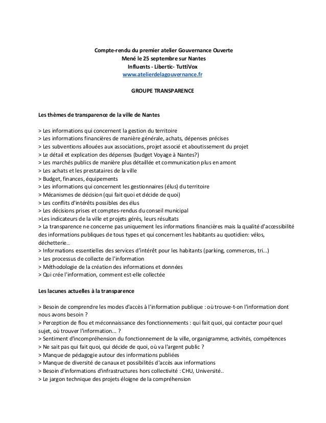 Compte-rendu du premier atelier Gouvernance Ouverte  Mené le 25 septembre sur Nantes  Influents - Libertic- TuttiVox  www....