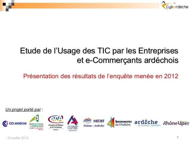 Etude de l'Usage des TIC par les Entreprises                       et e-Commerçants ardéchois          Présentation des ré...